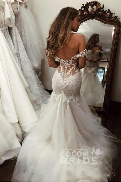 Off the Shoulder Mermaid Lace Long Tulle Wedding Dress_2