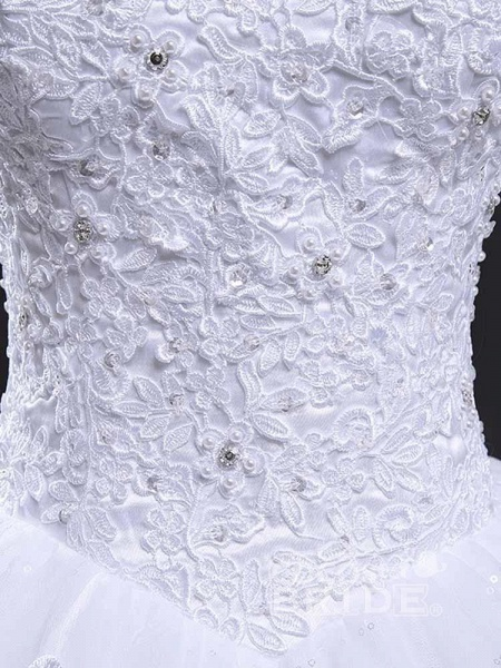 V-Neck Cap Sleeves Ball Gown Lace Wedding Dresses_6