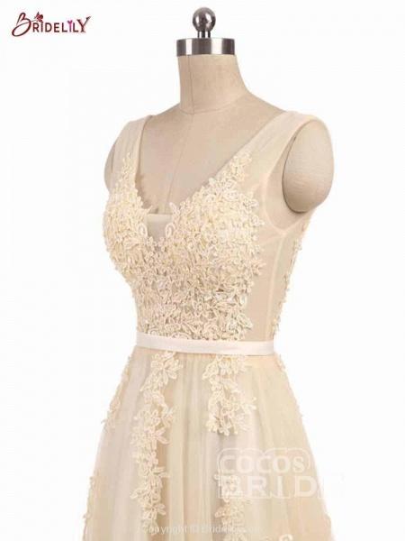 Glamorous V-Neck Lace Ribbon A-line Wedding Dresses_5