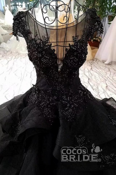 Gorgeous Black Ball Gown Cap Sleeves Long Wedding Dress_2