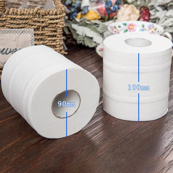 10 Roll 4ply White Toilet Paper Native Wood Pulp Tissue Hollow Replacement Roll Paper_14