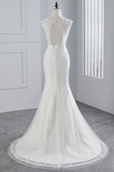 Glamorous Long Mermaid Jewel Tulle Sleeveless Wedding Dress with Appliques Lace_2