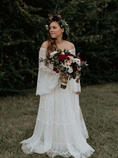 Long Sleeve Floor-Length Lace Boho Chic Wedding Dresses_1