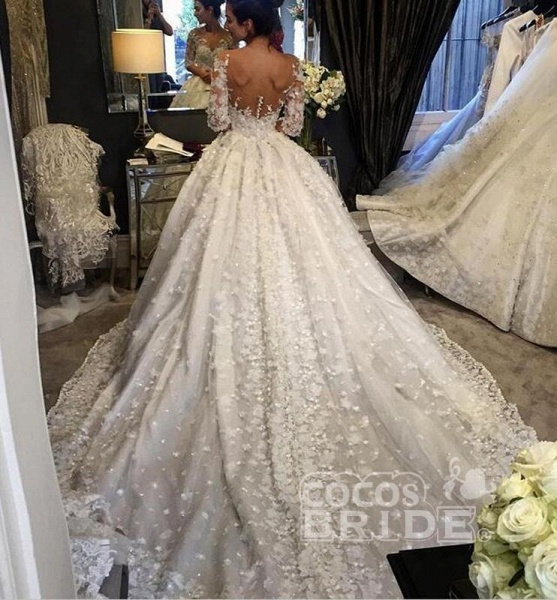 Vintage Appliqued Half Sleeve Flowers Ball Gown Luxury Tulle Wedding Dress_2