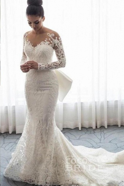 Gorgeous Lace with Long Sleeves Bowknot Mermaid Wedding Dress_2