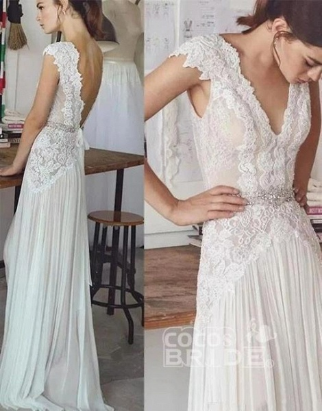 Unique V Neck Cap Sleeves Chiffon Beach Wedding Dress_2