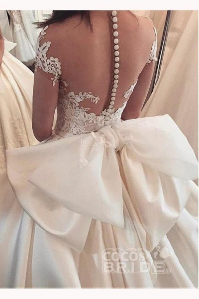 Fascinating Satin Sheer Neckline Ball Gown Appliques Bowknot Wedding Dress_2
