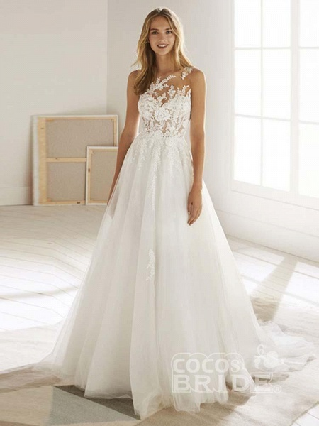 Romatic Lace Tulle Wedding Dresses_2