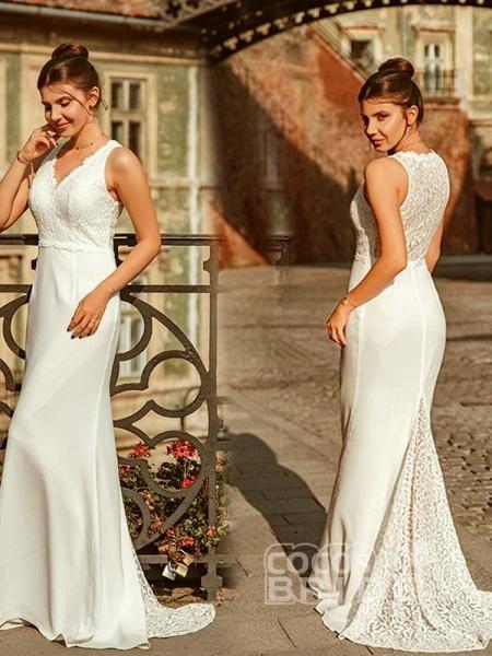 Elegant V Neck Lace Mermaid Wedding Dresses_2