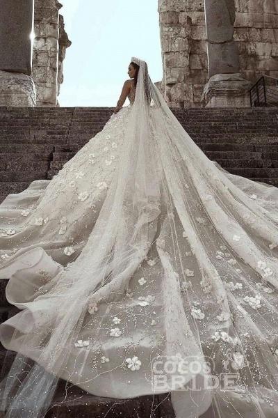 Luxury Beaded Long Sleeve Lace Ball Gown Wedding Dress_2