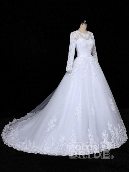 Glamorous Long Sleeves Lace Applique Tulle Wedding Dresses_2