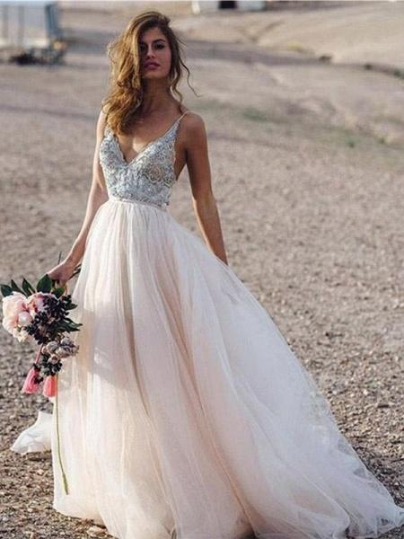 Spaghetti Straps Lace Tulle A-line Boho Wedding Dresses_1