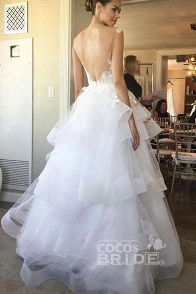 Charming Ivory U Neck Appliques Tulle Sleeveless Layers Wedding Dress_2