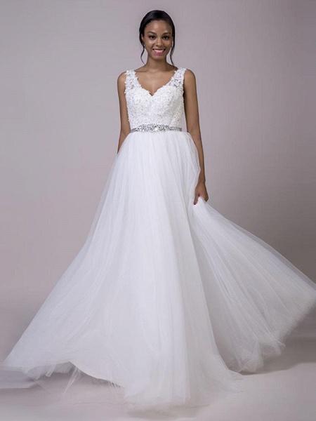 Fancy V-Neck Lace Up Sleeveless A Line Wedding Dresses_1