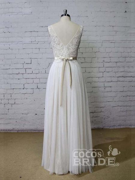 Elegant Floor Length Lace Tulle A-line Wedding Dresses_2