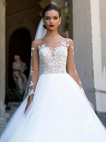 Long Sleeves Lace Ball Gown Tulle Wedding Dresses_3