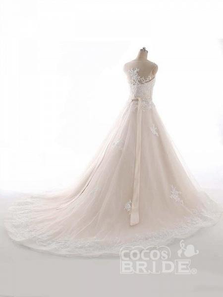 Elegant Bateau Lace Appliques Ribbon Wedding Dresses_4