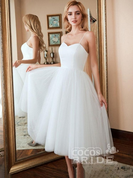 Spaghetti-Strap Lace-Up Tulle Short Wedding Dresses_5