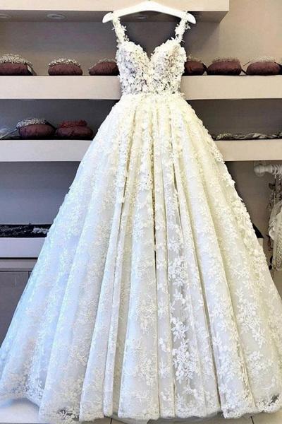 White Flower Lace Sweetheart Long Halter Wedding Dress_1
