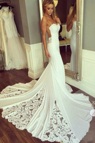 Mermaid Sexy Sheer Neck with Lace Unique Ivory Wedding Dress_1