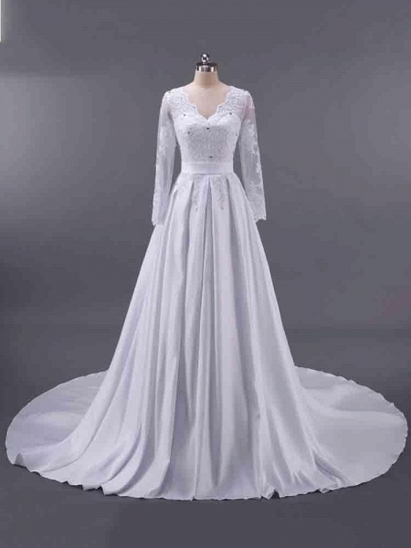 Elegant V-Neck Long Sleeves Lace Ruffles Wedding Dresses_1