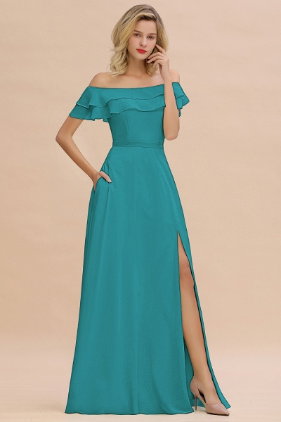 BM0775 Off-the-Shoulder Front Slit Mint Green Long Bridesmaid Dress_32