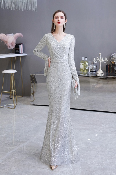 Gorgeous Sequins Long Sleeve V-Neck Mermaid Evening Gowns_9