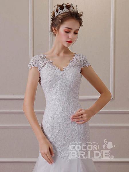 Affordable V-Neck Short Sleeves Lace Mermaid Wedding Dresses_2