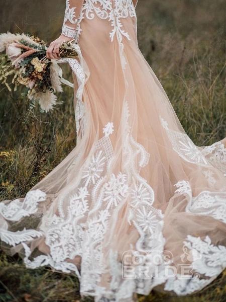 Amazing Long Sleeves Boho Lace Appliques Wedding Dress_5