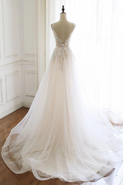 White Tulle Lace Custom Size Long Wedding Dress_2