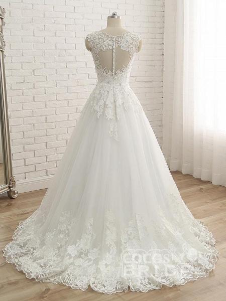Elegant V-Neck Lace Ball Gown Wedding Dresses_3