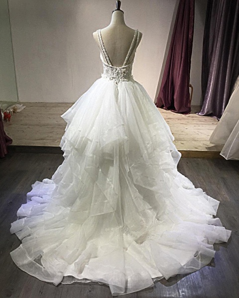 White Lace Open Back Long Pageant Lace Layered Wedding Dress_4