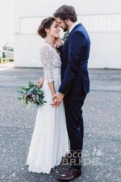 Floor Length Chiffon Beach Lace Backless Wedding Dress_3