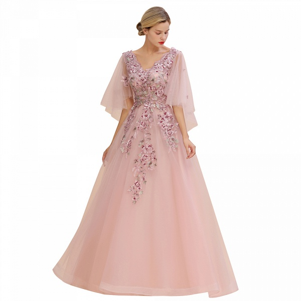 Dusty Pink Tulle Short Sleeve Long Prom Dress_3
