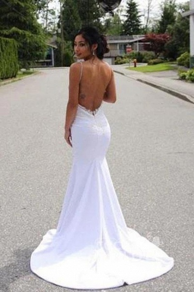 Spaghetti Straps Mermaid Lace Appliques Sexy Backless Wedding Dress_2