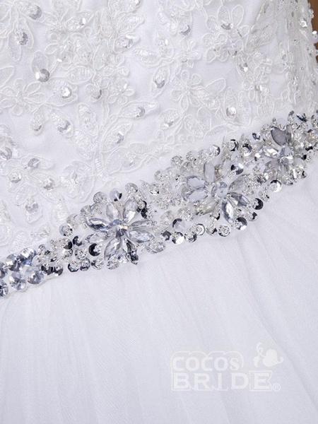 Fancy V-Neck Lace Up Sleeveless A Line Wedding Dresses_6