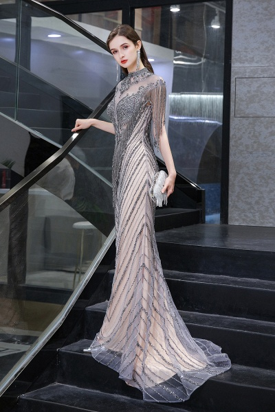 High Neck Cap sleeves Sparkle Beads Long Prom Dresses_5