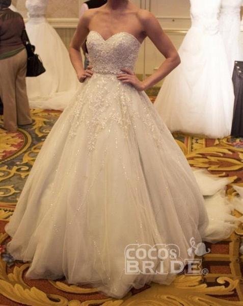 Precious Shinny Beaded Strapless Ball Gown Wedding Dress_3