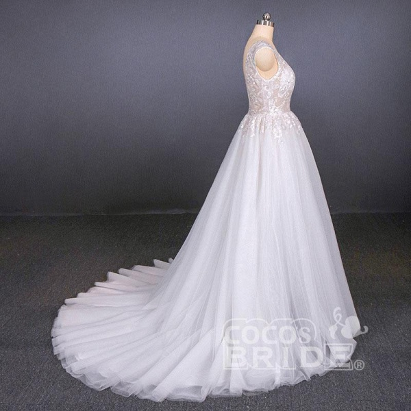 Sexy V Neck Tulle with Lace Appliques A Line Backless Wedding Dress_4