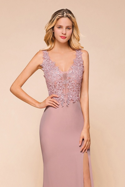 Dusty Pink Mermaid Lace Long Sleeveless Evening Gowns_3