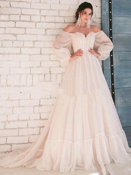 Glamorous A-Line Ruffles Long Sleeve Wedding Dresses_1