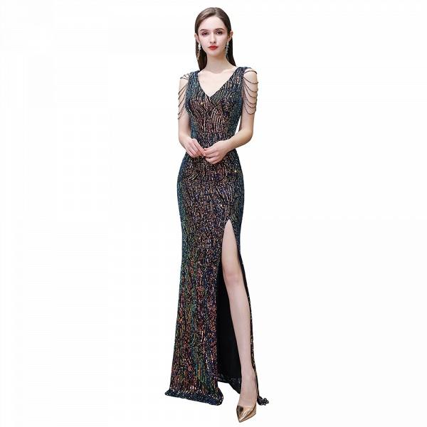 V-Neck Sequins Long Evening Dress With Split_3
