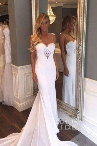Mermaid Sexy Sheer Neck with Lace Unique Ivory Wedding Dress_2