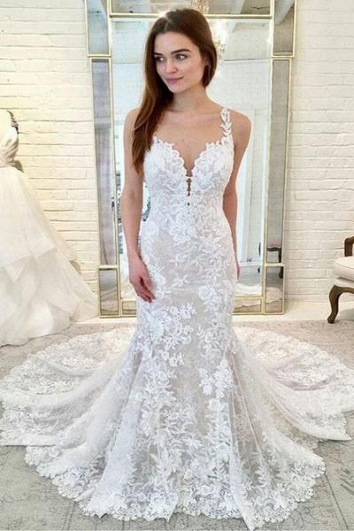 Gorgeous Straps Mermaid Train Lace Wedding Dress_1