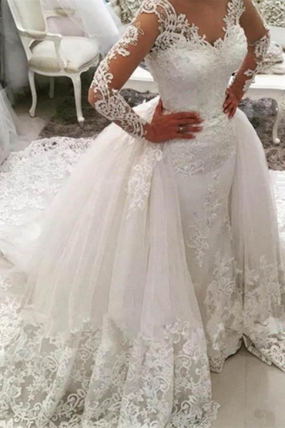 Gorgeous Ivory V-Neck Long Sleeves Appliques Watteau Train Wedding Dress_1