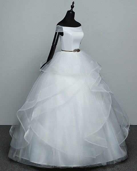 White Tulle Off Shoulder Layered Wedding Dress With Belt_2