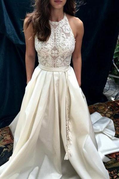 Ivory A-line Halter Lace Satin with Sweep Train Sleeveless Beach Wedding Dress_1