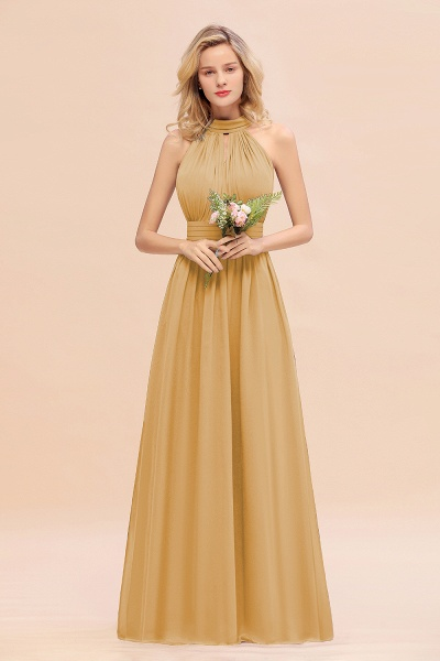 BM0758 Glamorous High-Neck Halter Bridesmaid Affordable Dresses with Ruffle_13