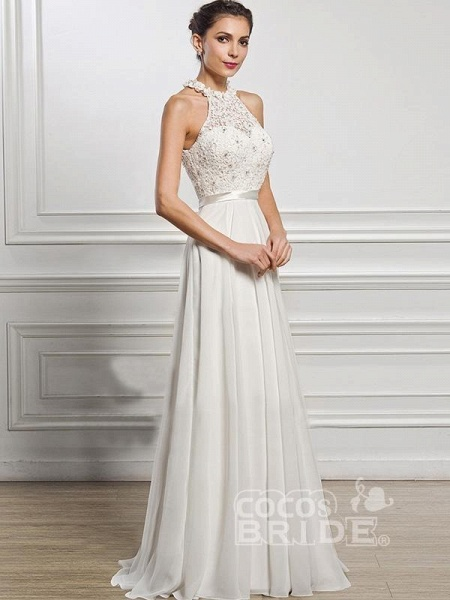 Halter Sleeveless Open Back A-Line Wedding Dresses_3