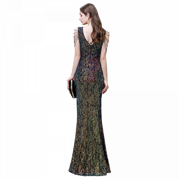 V-Neck Sequins Long Evening Dress With Split_4
